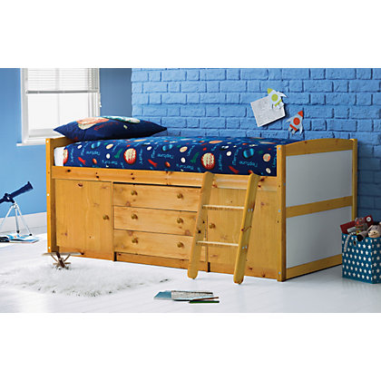 Tory Pine Mid Sleeper Bed With Buddy Mattress
