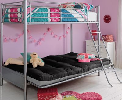Image of Metal Black Futon Bunk Bed with Ashley Mattress.