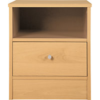 New Malibu 1 Drawer Bedside Chest - Maple Effect.