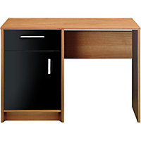 Caspian Single Pedestal Desk - Walnut and Black Gloss.