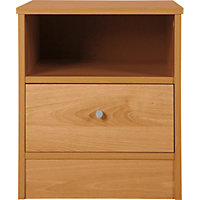 New Malibu 1 Drawer Bedside Chest - Pine Effect.