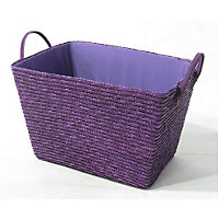 Straw Basket - Large - Purple