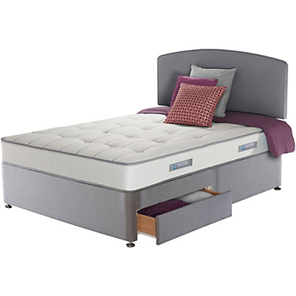 Sealy posturepedic firm ortho memory double 2 drw divan bed for Orthopedic double divan bed