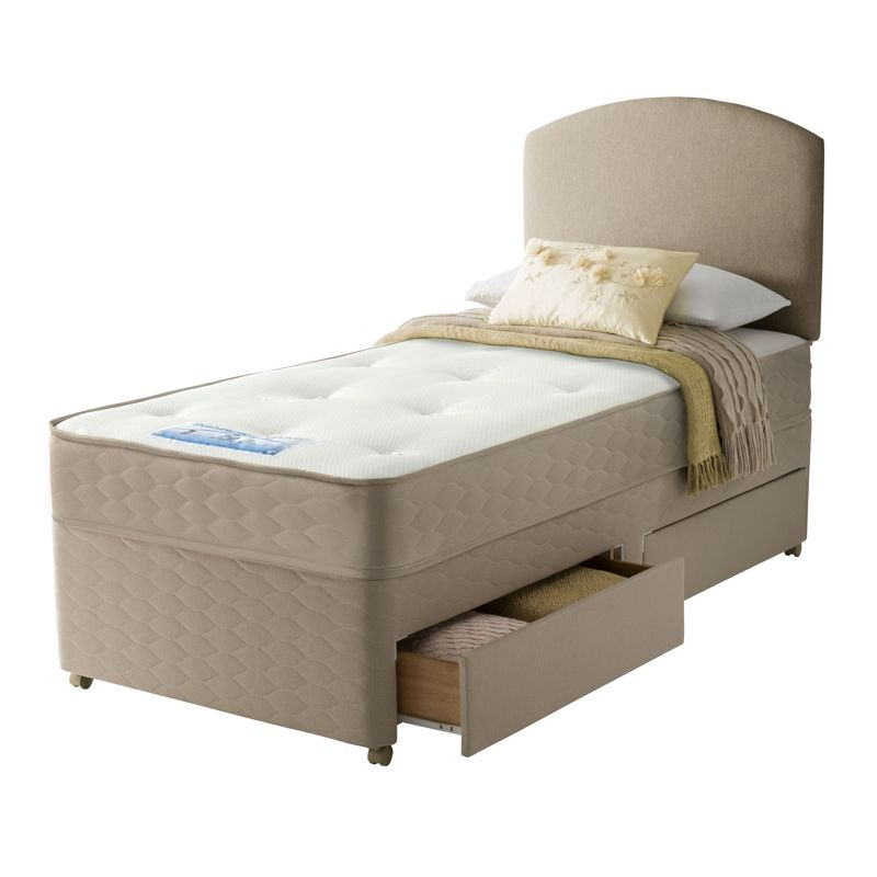 Sealy relax backcare memory single 2 drw divan bed oyotz for Divan relax