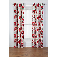 Elissia Poppy Unlined Curtain - 117 x 182cm - Cream & Red.