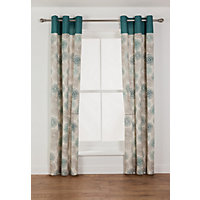 Kaelan Eyelet Unlined Curtains - 46 x 72in - Teal.