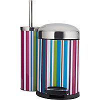 ColourMatch Slow Closing Bin & Brush Set - Stripes.