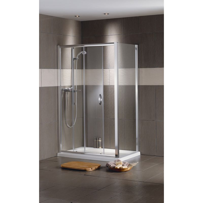 Homebase Fitted Bathrooms: Aqualux Mist Sliding Door Shower Enclosure And Tray