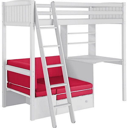 Ohio White Shorty High Sleeper Bed With Bibby Mattress