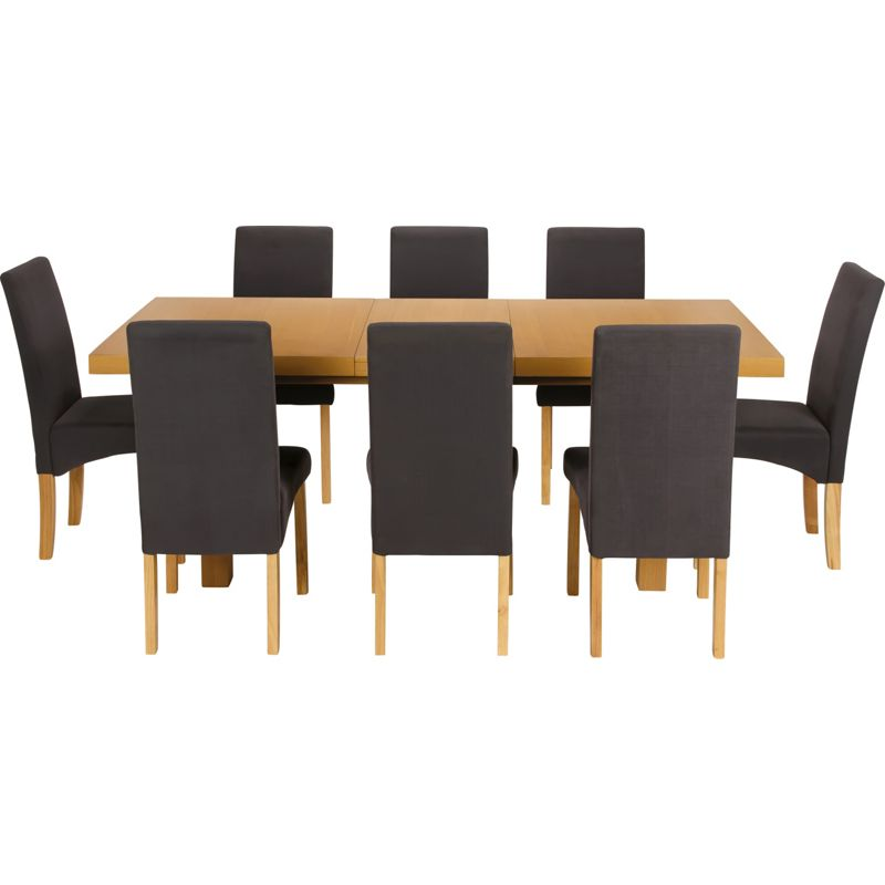 Cosgrove Extendable Oak Dining Table And 8 Charcoal Chairs