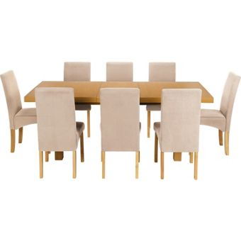 Cream Leather Dining Set