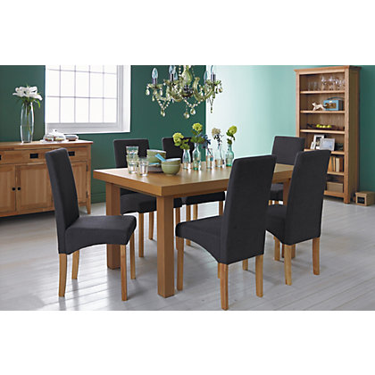 Cosgrove Extendable Oak Dining Table And 6 Charcoal Chairs