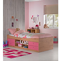 Malibu Cabin Bed Frame - Pink on Pine.