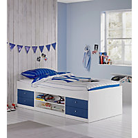 Malibu Cabin Bed Frame - Blue on White.