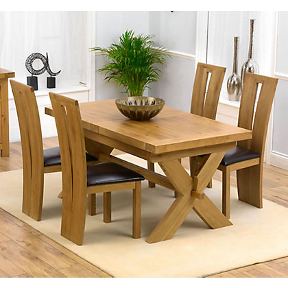 bordeaux solid oak extending dining table and 4 black chairs. Black Bedroom Furniture Sets. Home Design Ideas