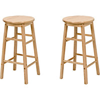 Pair of Natural Wooden Kitchen Stools.