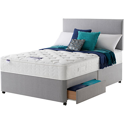 Silentnight bowie microquilt double 2 drawer divan bed for New double divan bed