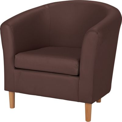 ColourMatch Leather Effect Tub Chair - Chocolate.