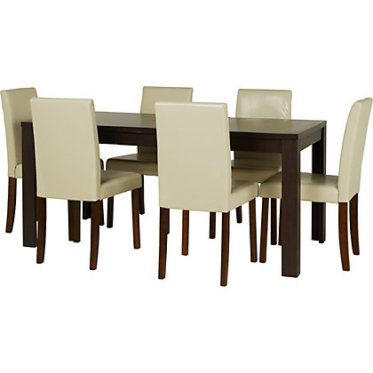 penley walnut extendable dining table and 6 cream chairs. Black Bedroom Furniture Sets. Home Design Ideas