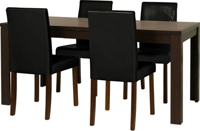 Homebase penley walnut extendable dining table and 4 for Top rated dining tables