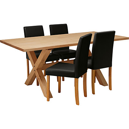 tables chairs dining sets hudson solid wood dining table and 4 black