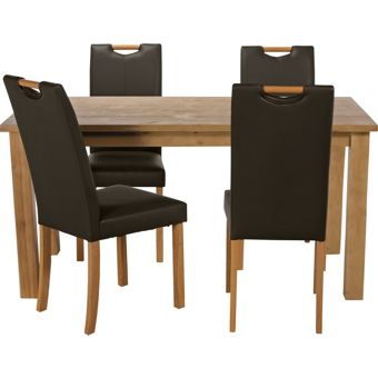 Harrison oak stain 120cm dining table and 4 chocolate chairs for 120cm dining table with 4 chairs
