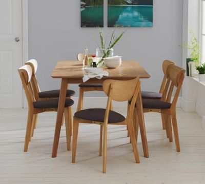 Homebase hygena riley oak veneer dining table and 6 for Top rated dining tables