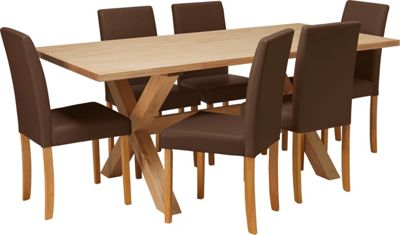 Homebase hudson solid wood dining table and 6 chocolate for Top rated dining tables