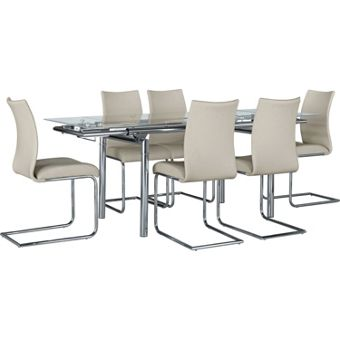 hygena amparo black dining table and 4 red chairs 110475