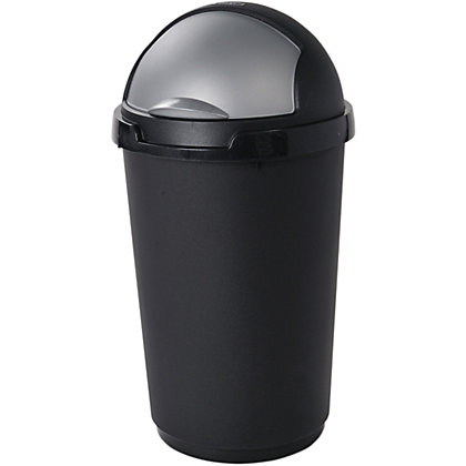Image for Curver 50L Bullet Bin Black and Silver from StoreName