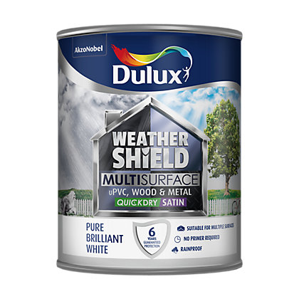Image for Dulux Weathershield Multi Surface Quick Dry Satin White - 750ml from StoreName
