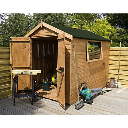 Image for Mercia Premium Shiplap Apex Wooden Shed - 8ft x 6ft from StoreName