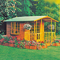 Homewood Fleur de Lys Wooden Summer House with Veranda - 10ft x 10ft 3in