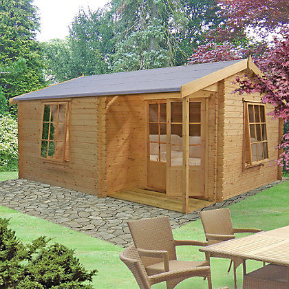 Image for Homewood Ringwood 28mm Wooden Log Cabin - 12ft 6in x 14ft 9in from StoreName