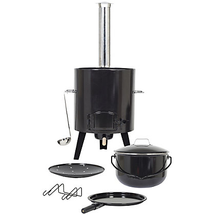 Image for La Hacienda Cowboy Cookout 4 in 1 Charcoal Stove - Black from StoreName