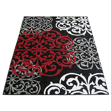 Image for Spirit Damask Black Rug - 80 x 150cm from StoreName
