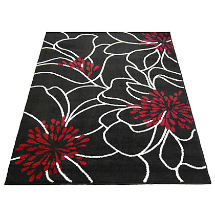 Image for Spirit Floral Black Rug - 80 x 150cm from StoreName