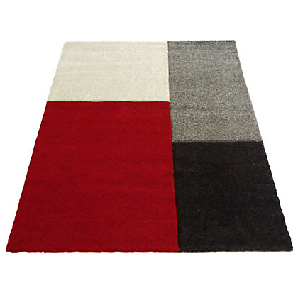 Image for Matisse Blocks Red Rug & Black Rug - 80 x 150cm from StoreName