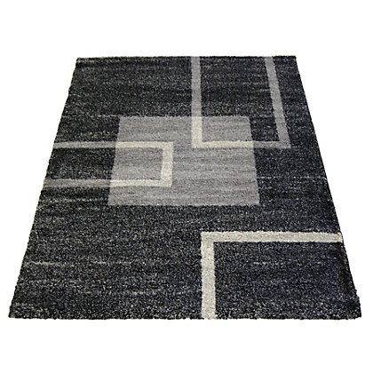 Image for Blocks Abstract Dark Grey Rug - 80 x 150cm from StoreName