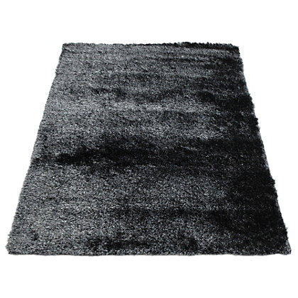 Image for Twinkle Shaggy Black & Silver Rug - 60 x 120cm from StoreName