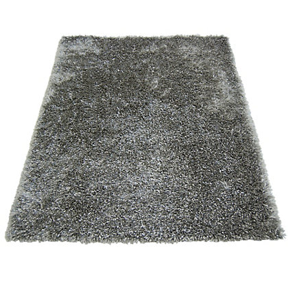 Image for Ribbon Shaggy Silver Rug - 80 x 150cm from StoreName