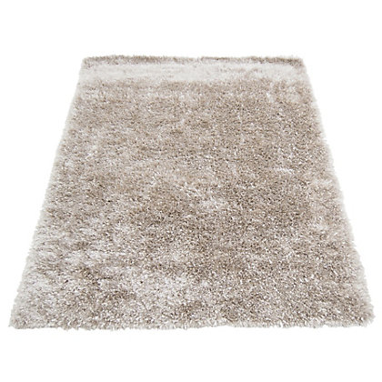 Image for Ribbon Shaggy Champagne Rug - 60 x 110cm from StoreName