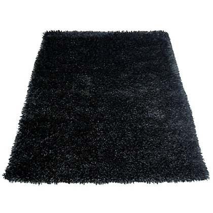 Image for Ribbon Shaggy Black Rug - 160 x 230cm from StoreName