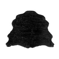 Faux Fur Black Sheep Shape Rug