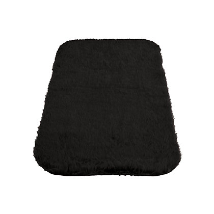 Image for Faux Fur Black Oblong Rug from StoreName