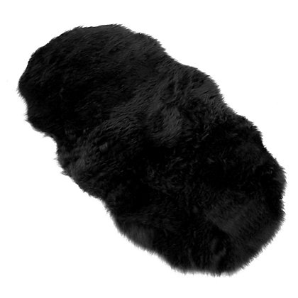 Image for Faux Fur Black Double Shape Rug from StoreName