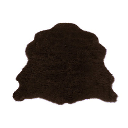 Image for Faux Fur Chocolate Sheep Shape Rug from StoreName