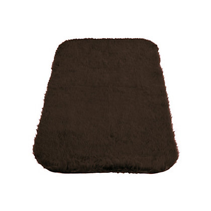 Image for Faux Fur Chocolate Oblong Rug from StoreName
