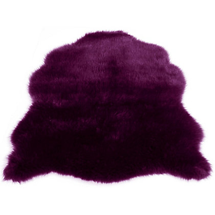 Image for Faux Fur Plum Sheep Shape Rug from StoreName