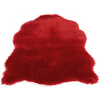 Faux Fur Red Sheep Shape Rug